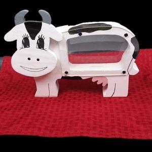 Cow Piggy Wooden White Bank